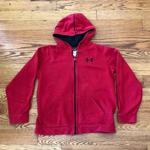 Red Under Armour Boys Red ZIP-Up Hoodie